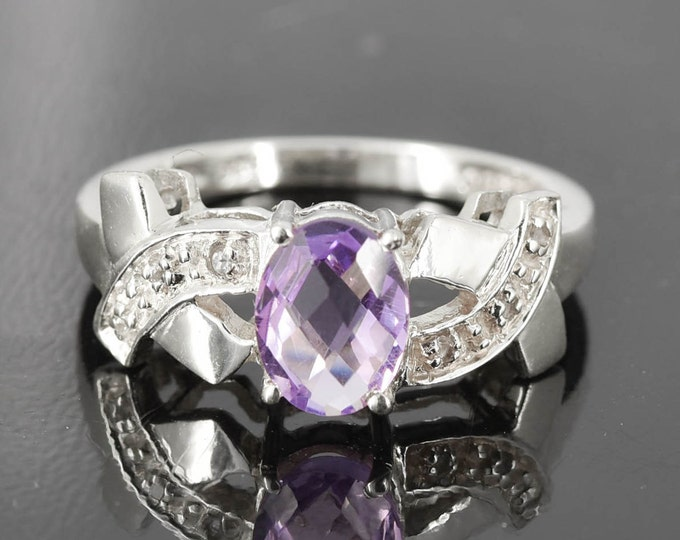 Amethyst Ring, 1.25 ct, Purple, Oval, Birthstone Ring, February, Gemstone Ring, Sterling Silver Ring, Solitaire Ring, Statement Ring