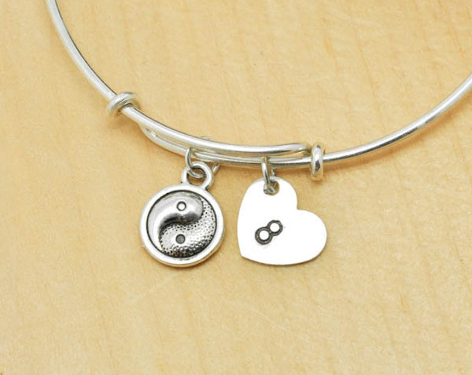 Yin Yang Bangle, Sterling Silver Bangle, Adjustable Bangle, Bridesmaid Gift, Initial Bangle, Personalized Bangle, Charm Bangle, Monogram