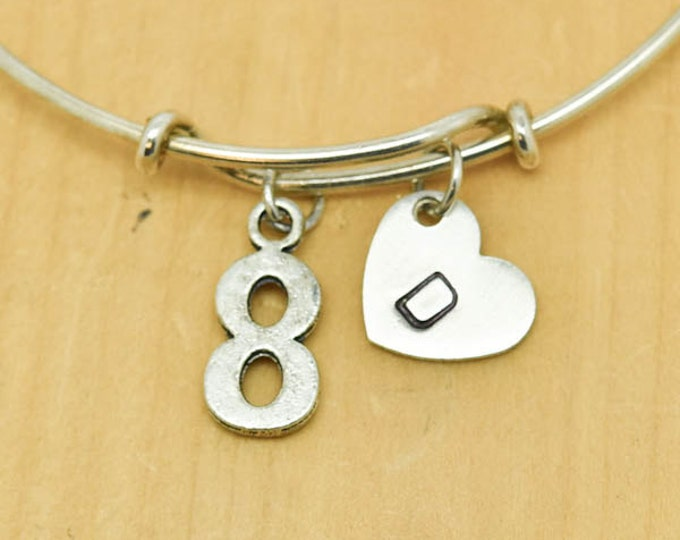 Number Eight Bangle, Sterling Silver Bangle, 8 Bracelet, Bridesmaid Gift, Personalized Bracelet, Charm Bangle, Monogram,Initial Bracelet