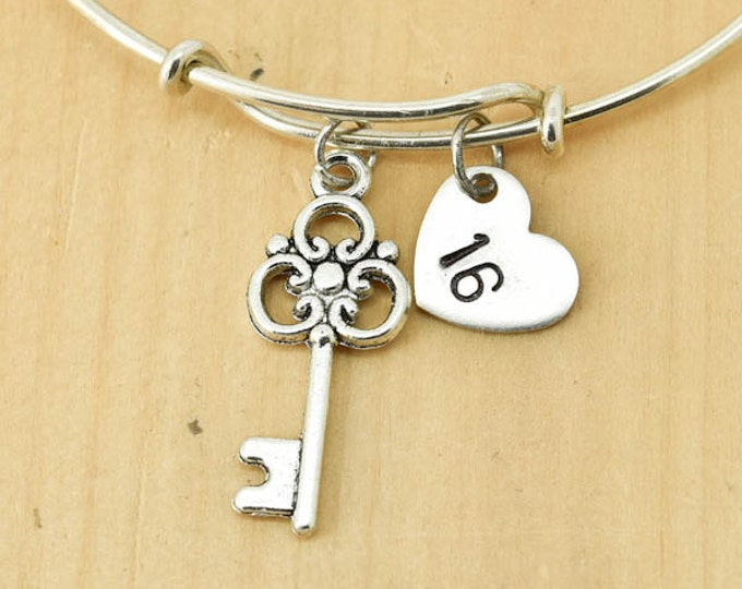 Key Bangle, Sterling Silver Bangle, Adjustable Bangle, Bridesmaid Gift, Initial Bangle, Personalized Bangle, Charm Bangle, Monogram Bangle