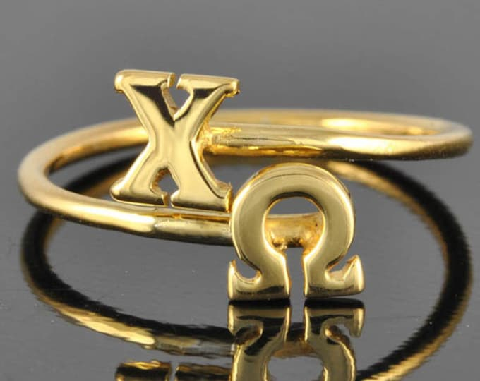 Chi Omega gold ring, Chi Omega ring, gold ring, adjustable ring, greek letter ring, chi, omega