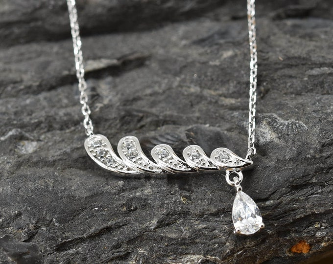 Feather Drop Necklace, Feather Pendant, Feather Jewelry, 925 Sterling Silver, Crystal Necklace Pendant, Bridesmaid Gift,Bridesmaid Necklace