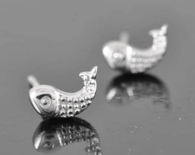 fish earring, sterling silver earring, stud earrings, eco friendly recycled silver, bridesmaid gift, wedding gift