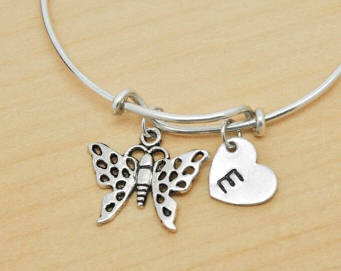 Butterfly Bangle, Sterling Silver Bangle, Butterfly Bracelet, Bridesmaid Gift, Personalized Bracelet, Charm Bangle, Initial Bracelet