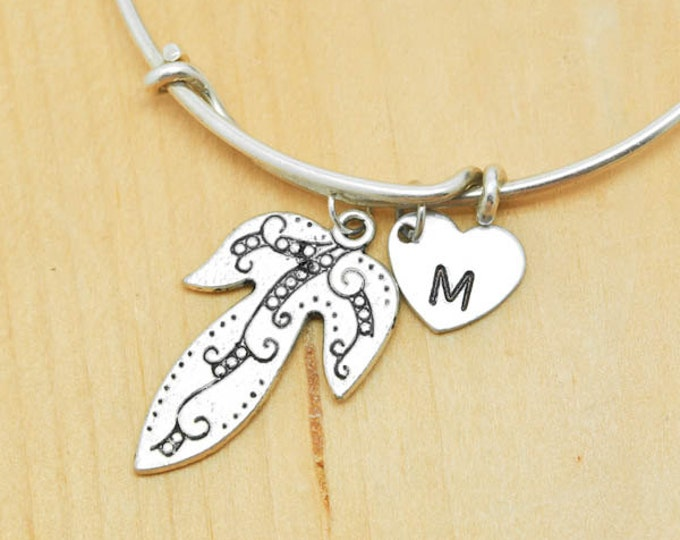 Leaf Bangle, Sterling Silver Bangle, Adjustable Bangle, Bridesmaid Gift, Initial Bangle, Personalized Bangle, Charm Bangle, Monogram