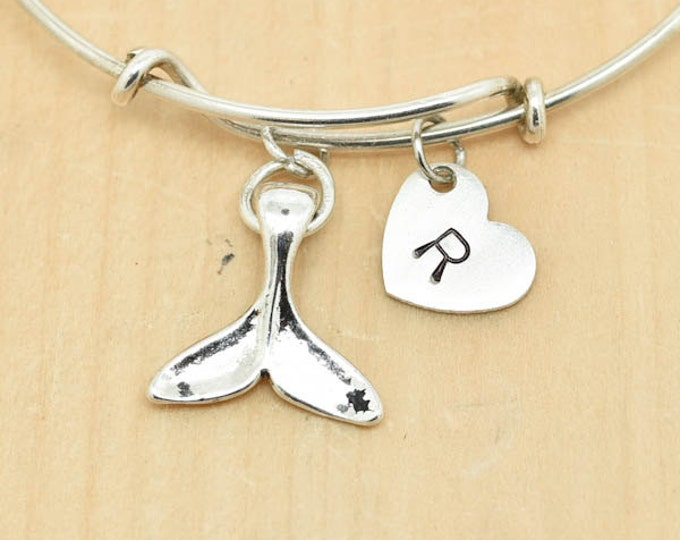 Whale Tail Bangle, Sterling Silver Bangle, Whale Tail Bracelet, Personalized Bracelet, Charm Bangle, Initial Bracelet, Bridesmaid gift