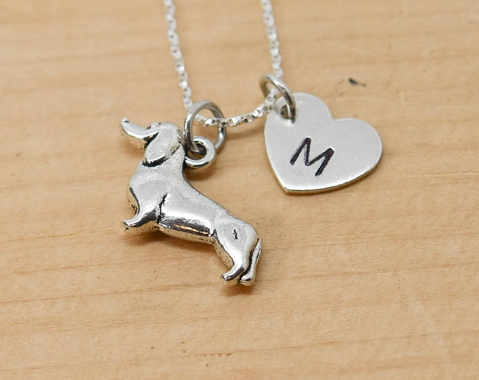Dachshund Necklace, Dog Charm, Dog Pendant, Initial Necklace, Personalized Necklace, Sterling Silver, Charm Necklace, Bridesmaid Gift