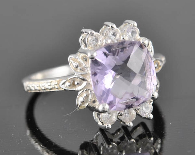Amethyst ring, february birthstone, gemstone ring, sterling silver ring, cocktail ring, statement ring, engagement ring, novelty ring