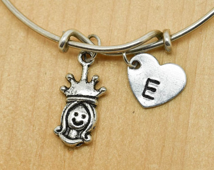 Princess Bangle, Sterling Silver Bangle, Crown Bracelet, Bridesmaid Gift, Personalized Bracelet, Charm Bangle, Monogram, Initial Bracelet