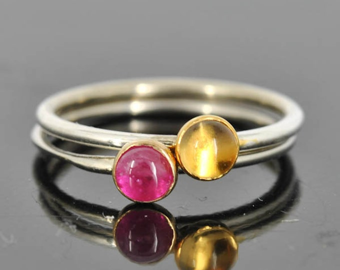Citrine ring, Gold bezel, gemstone ring, stacking ring, november birthstone ring,  Gold Birthstone Ring,