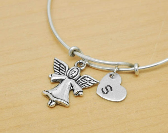 Angel Bangle, Sterling Silver Bangle, Angel Bracelet, Bridesmaid Gift, Personalized Bracelet, Charm Bangle, Monogram, Initial Bracelet