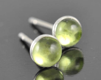 Peridot earrings, stud earrings, August birthstone earrings, bridesmaid gift, bridal, sterling silver earrings, graduation