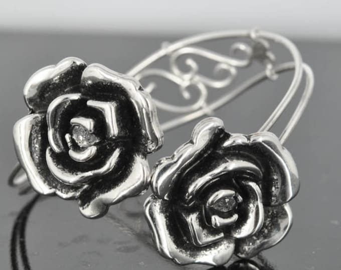 Rose Bangle, Sterling Silver Bangle, Filigree Bangle