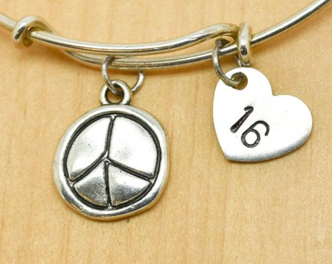 Peace Bangle, Sterling Silver Bangle, Adjustable Bangle, Bridesmaid Gift, Initial Bangle, Personalized Bangle, Charm Bangle, Monogram