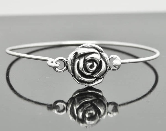 Rose Bangle, Sterling Silver Bangle, Rose Bracelet, Stackable Bangle, Charm Bangle, Bridesmaid Bangle, Bridesmaid jewelry, Bridal Bracelet
