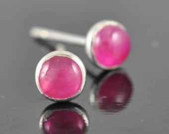 Ruby earrings, stud earrings, july birthstone, sterling silver earrings, bridesmaid gift