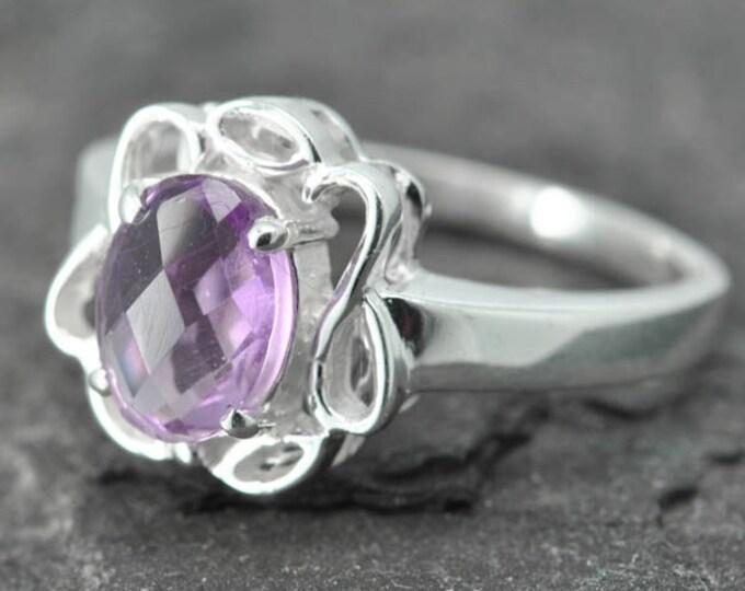 Amethyst ring, birthstone, February, gemstone, sterling silver