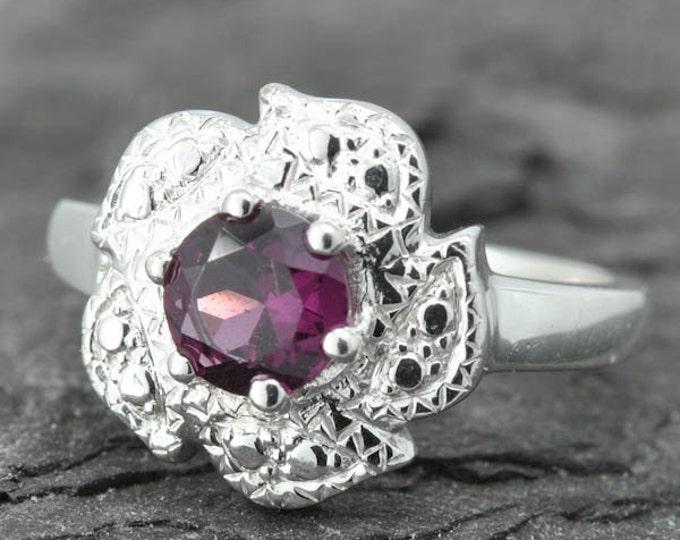 Garnet ring, sterling silver ring, gemstone ring, pink, round, January birthstone, rhodolite garnet, one of a kind