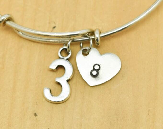 Number Three Bangle, Sterling Silver Bangle, 3 Bracelet, Bridesmaid Gift, Personalized Bracelet, Charm Bangle, Monogram,Initial Bracelet