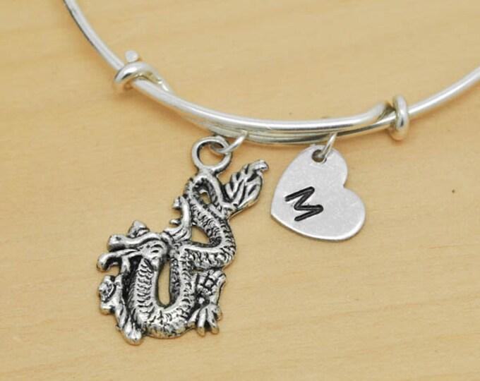 Dragon Bangle, Sterling Silver Bangle, Dragon Bracelet, Bridesmaid Gift, Personalized Bracelet, Charm Bangle, Monogram, Initial Bracelet