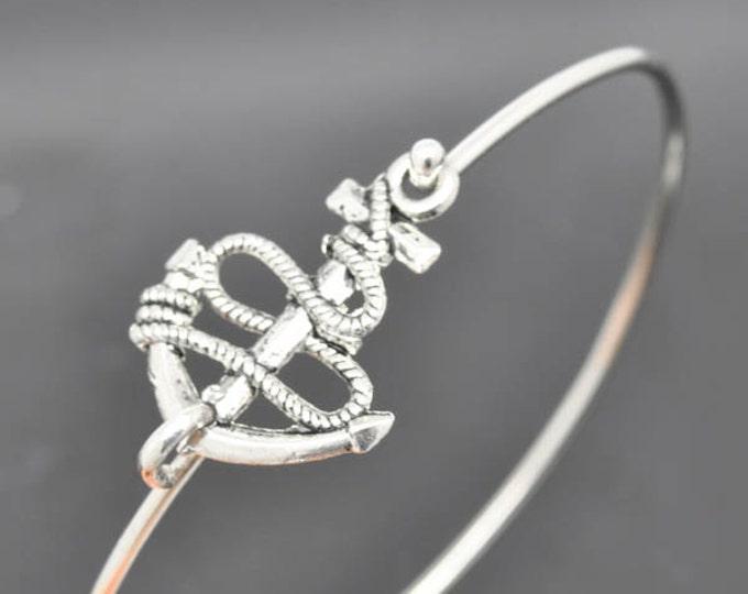 Anchor Bangle, Sterling Silver Bangle, Anchor Bracelet, Stackable Bangle, Bridesmaid Bangle, Bridesmaid jewelry, Bridal Bracelet