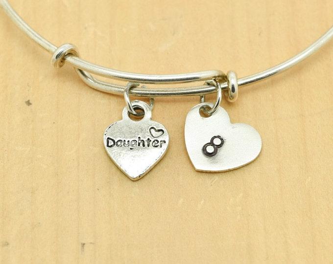 Daughter Heart Bangle, Sterling Silver Bangle, Adjustable Bangle, Bridesmaid Gift, Initial Bangle, Personalized Bangle, Charm Bangle,