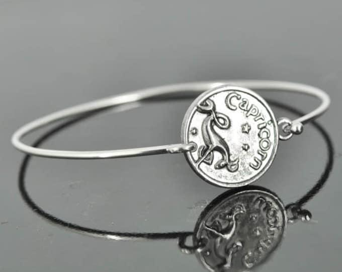 Zodiac Bangle, Sterling Silver Bangle, Zodiac Bracelet, Stackable Bangle, Capricorn, Bridesmaid Bangle, Bridesmaid jewelry, Bridal Bracelet