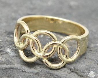Olympic Ring, 10K yellow gold ring, custom made, Olympic jewelry, 2014, 2015, Rio 2016, 2017, 2018