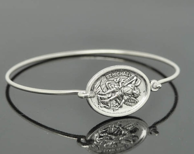 St Michael Bangle, St Michael Jewelry, St Michael Bracelet, Sterling Silver Bangle, Christian Jewelry, Catholic Jewelry