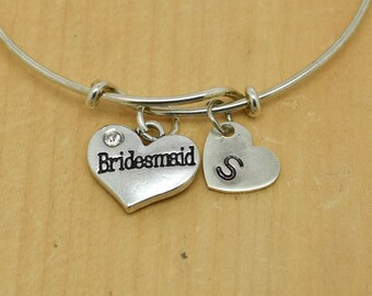 Bridesmaid Heart Bangle, Sterling Silver Bangle, Adjustable Bangle, Bridesmaid Gift, Initial Bangle, Personalized Bangle, Charm Bangle