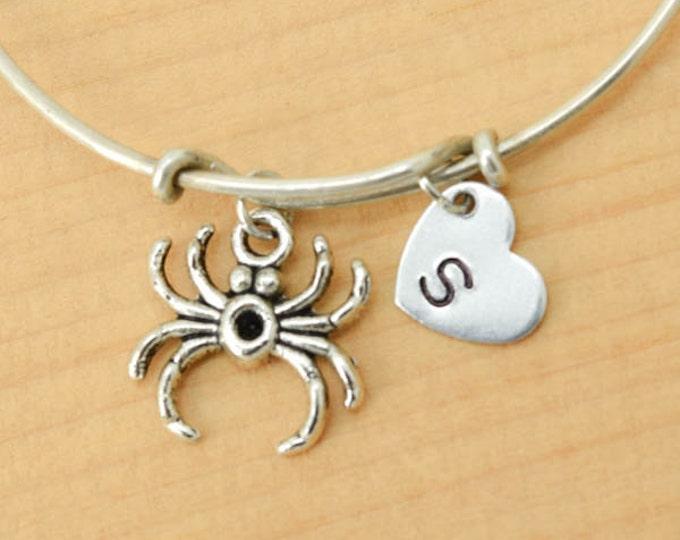 Spider Bangle, Sterling Silver Bangle, Spider Bracelet, Bridesmaid Gift, Personalized Bracelet, Charm Bangle, Initial Bracelet