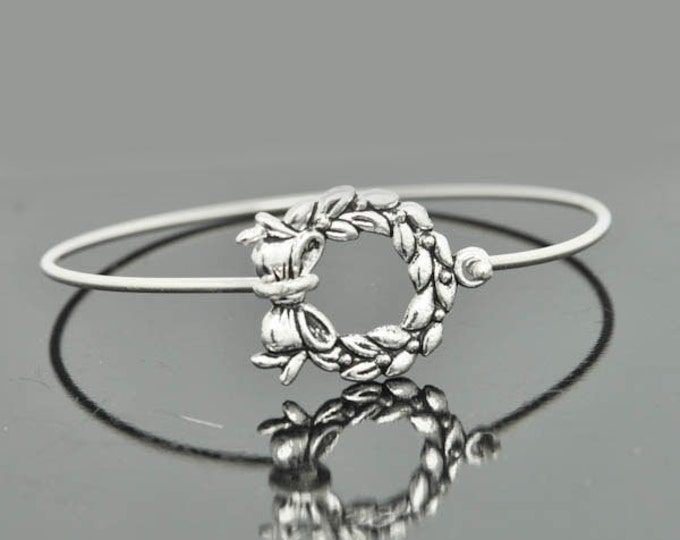 Wreath Bangle, Sterling Silver Bangle, Wreath Bracelet, Stackable Bangle, Charm, Bridesmaid Bangle, Bridesmaid jewelry, Bridal Bracelet