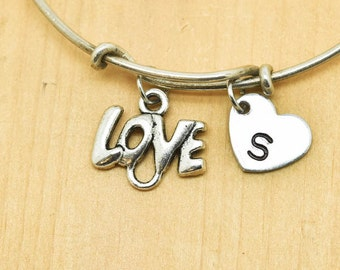Love Bangle, Sterling Silver Bangle, Love Bracelet, Bridesmaid Gift, Personalized Bracelet, Charm Bangle, Monogram, Initial Bracelet
