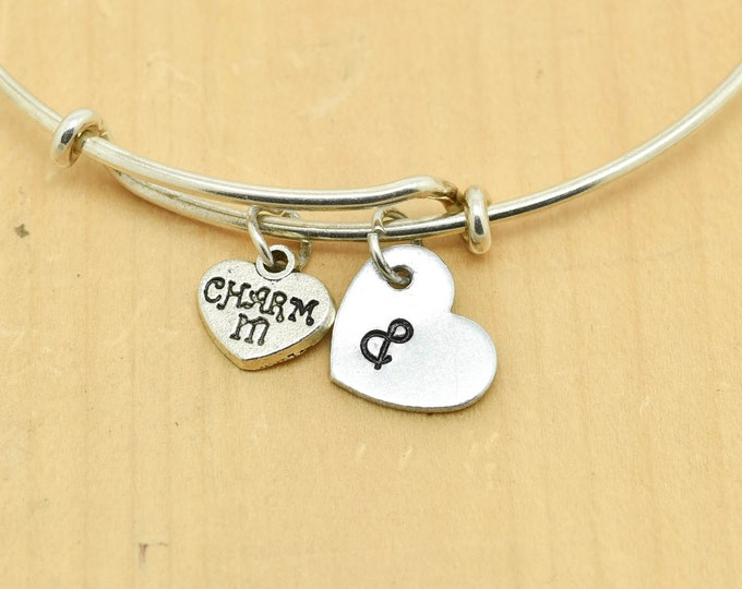 Charming Heart Bangle, Sterling Silver Bangle, Adjustable Bangle, Bridesmaid Gift, Initial Bangle, Personalized Bangle, Charm Bangle,