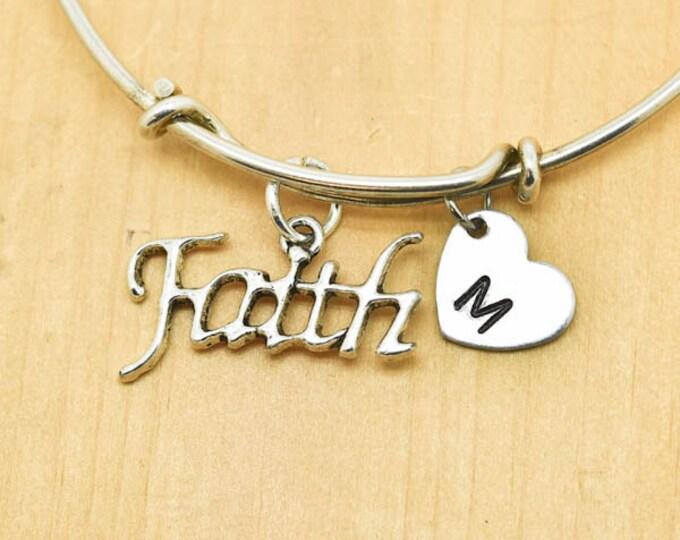 Faith Bangle, Sterling Silver Bangle, Faith Bracelet, Bridesmaid Gift, Personalized Bracelet, Charm Bangle, Monogram, Initial Bracelet
