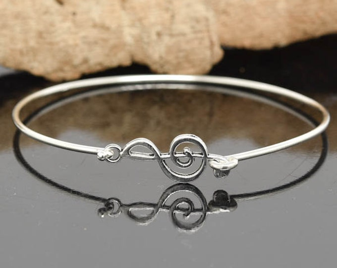 Clef Bangle, Sterling Silver Bangle, Clef Bangle, Clef Bangle, Clef Jewelry, Clef Bracelet, Music Bangle, Music Bracelet, Music note