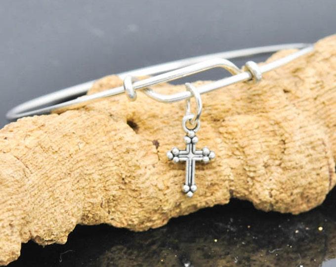 Cross Bangle, Sterling Silver Bangle, Adjustable Bangle, Bridesmaid Gift, Initial Bangle, Personalized Bangle, Charm Bangle, Monogram