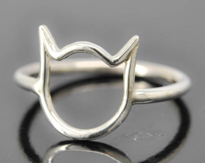 Cat ring, cat ear ring, kitty ring, 925 sterling silver ring, kids ring, kids jewelry, Bridesmaid gift, Kitten Ring, Bridesmaid jewelry