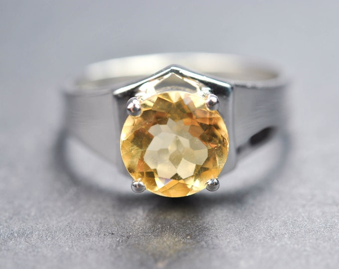 Citrine ring, 1.8 ct, sterling silver ring, gemstone ring, round, yellow, november birthstone, quartz, promise ring
