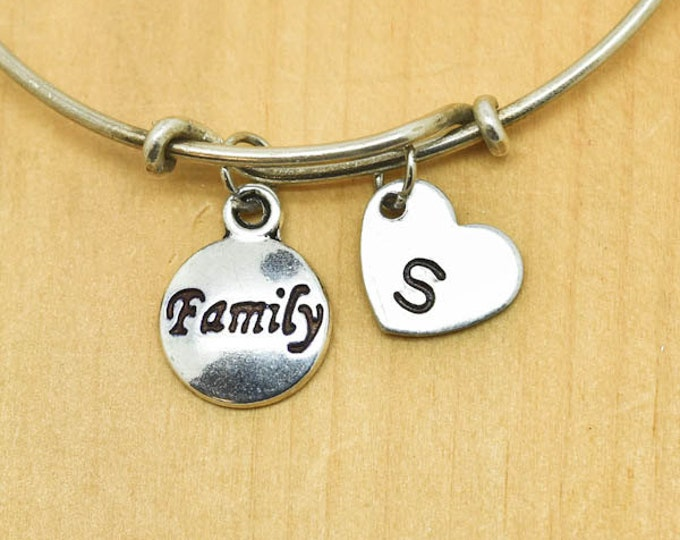 Family Bangle, Sterling Silver Bangle, Family Bracelet, Bridesmaid Gift, Personalized Bracelet, Charm Bangle, Monogram, Initial Bracelet