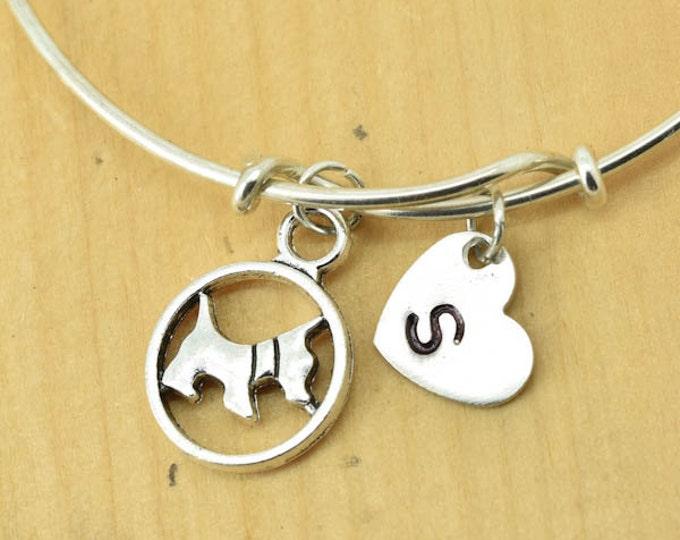 Dog Bangle, Sterling Silver Bangle, Dog Bracelet, Bridesmaid Gift, Personalized Bracelet, Charm Bangle, Initial Bracelet, Monogram