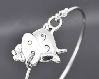Cow Bangle, Sterling Silver Bangle, Cow Bracelet, Stackable Bangle, Charm Bangle, Bridesmaid Bangle, Bridesmaid jewelry, Bridal Bracelet
