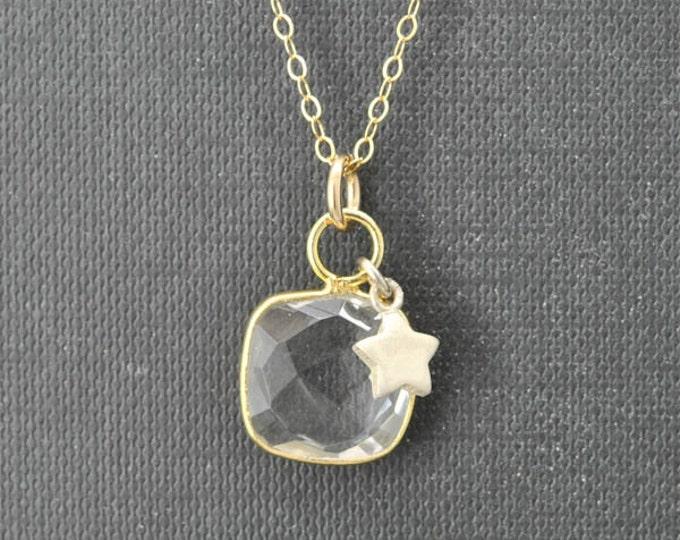 Quartz Necklace, 14k Gold Filled Chain, Bezel set Necklace, Gemstone Necklace, Quartz pendant