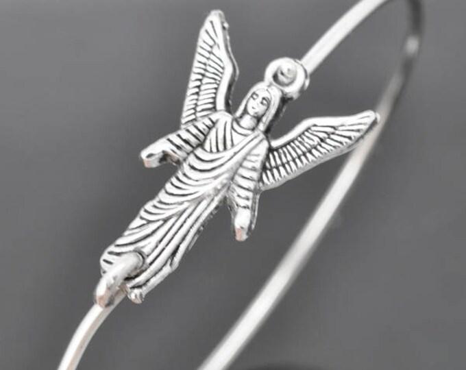 Angel Bangle,  Sterling Silver Bangle, Angel Bracelet,  Angel Jewelry, Sterling Silver Bracelet, Stacking Bangle, archangel , Gabriel