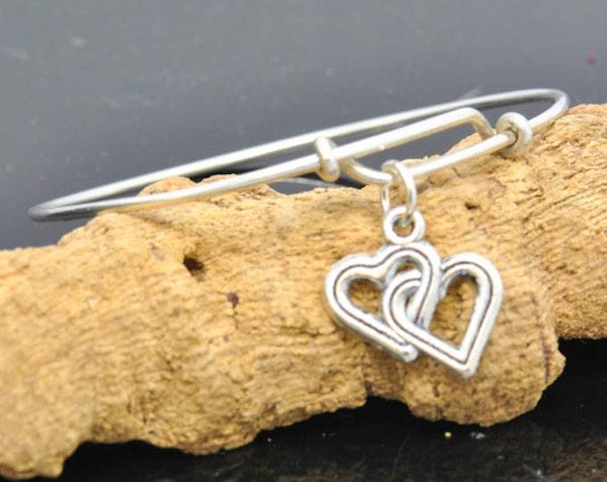 Heart Bangle, Sterling Silver Bangle, Heart Bracelet, Heart Jewelry, Personalized Bracelet, Charm Bangle, Bridesmaid Gift, Initial Bracelet