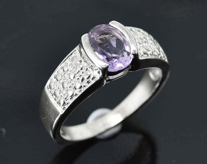 Amethyst Ring, 1.25 ct, Purple, Oval Cut, Birthstone Ring, February, Gemstone Ring, Sterling Silver Ring, Solitaire Ring, Statement Ring