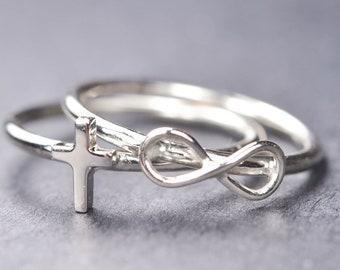 Cross ring, infinity cross ring, sideways cross ring, stacking ring, novelty, statement, sterling silver ring
