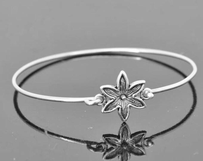 Flower Bangle, Sterling Silver Bangle, Flower Bracelet, Stackable Bangle, Charm, Bridesmaid Bangle, Bridesmaid jewelry, Bridal Bracelet
