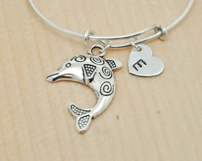 Dolphin Bangle, Sterling Silver Bangle, Dolphin Bracelet, Bridesmaid Gift, Personalized Bracelet, Charm Bangle, Monogram, Initial Bracelet