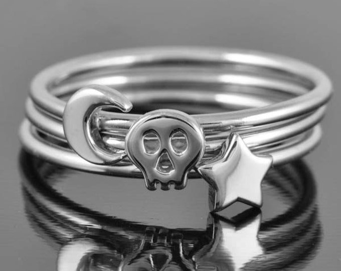 Skull ring, personalized ring, sterling silver ring, stacking ring